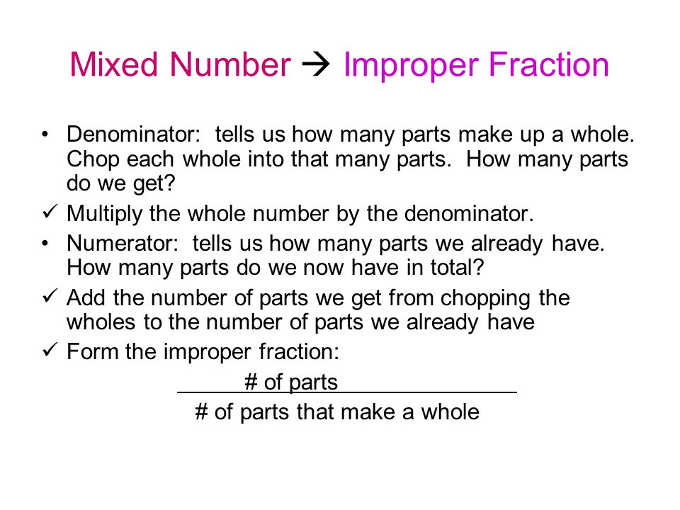 Mixed Number  Improper Fraction