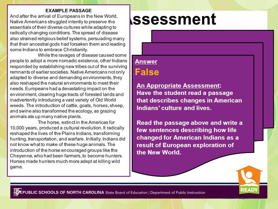 Pre-Assessment False Answer EXAMPLE PASSAGE