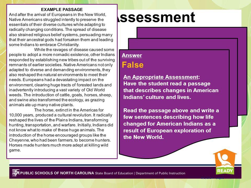 Pre-Assessment False Answer EXAMPLE PASSAGE