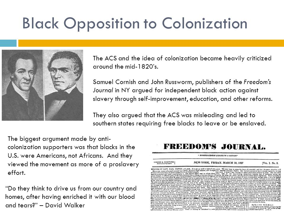 Black Opposition to Colonization