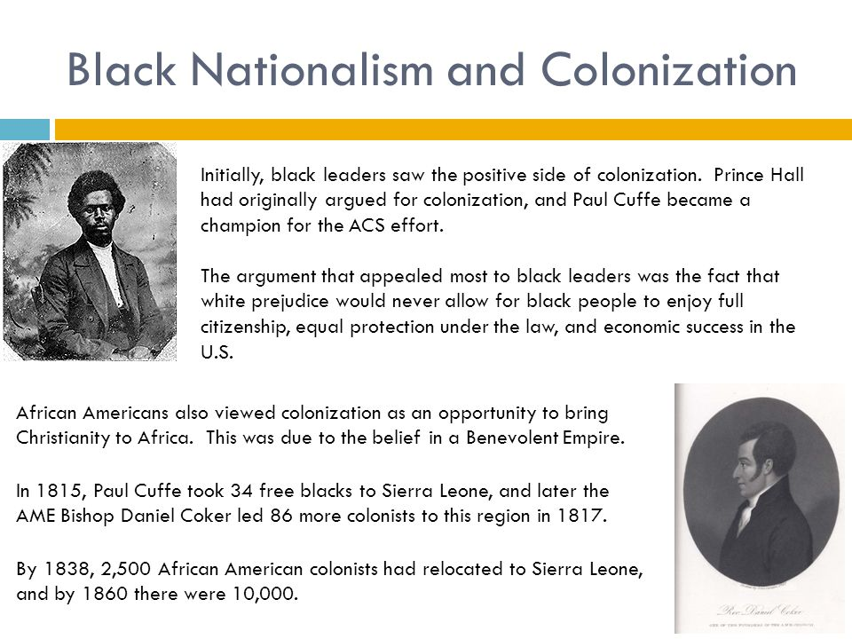 Black Nationalism and Colonization