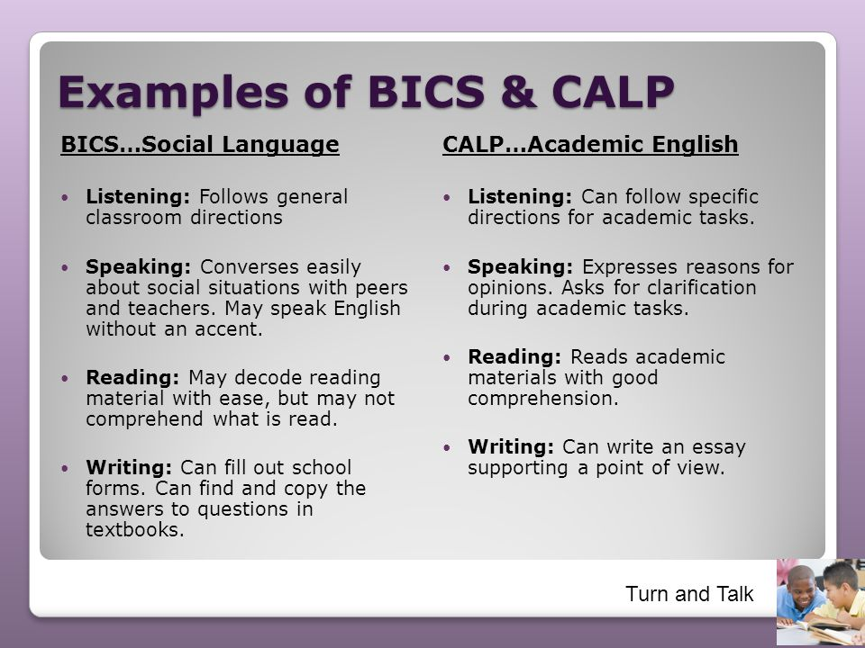 Examples of BICS & CALP BICS…Social Language CALP…Academic English