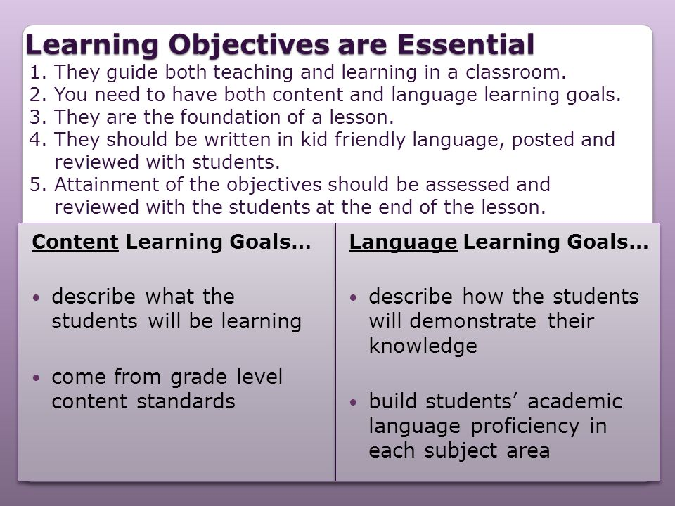 Learning Objectives are Essential