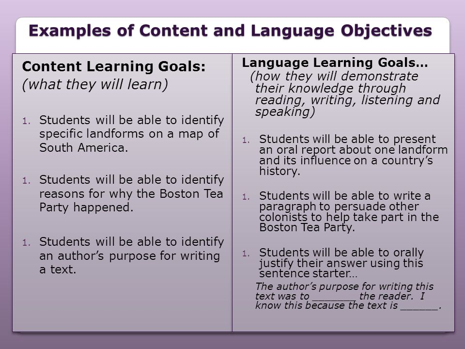Examples of Content and Language Objectives
