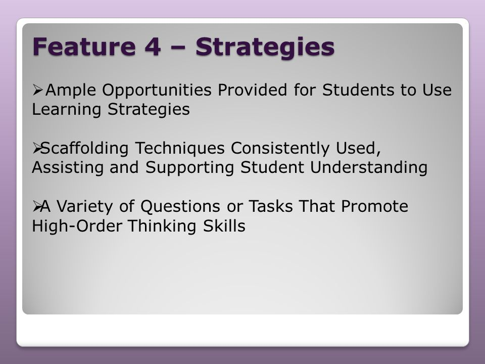 Feature 4 – Strategies Ample Opportunities Provided for Students to Use Learning Strategies.