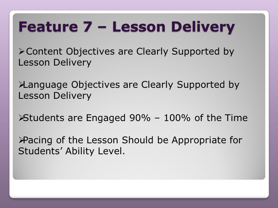 Feature 7 – Lesson Delivery