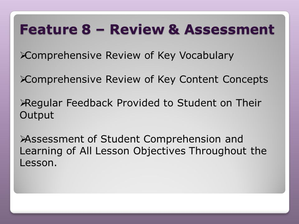 Feature 8 – Review & Assessment