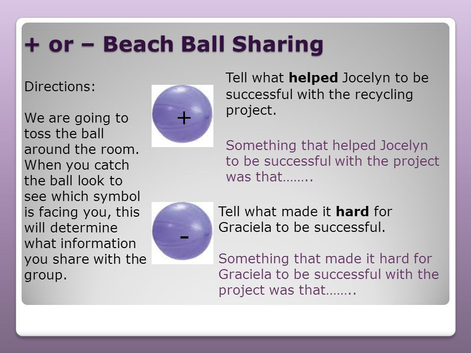 + or – Beach Ball Sharing