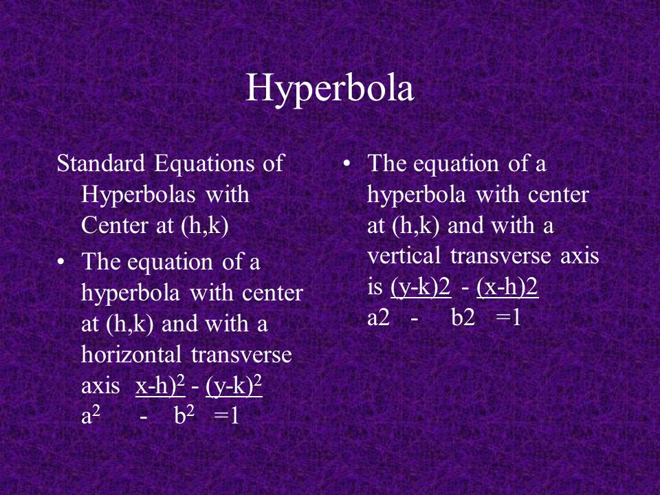 Hyperbola Standard Equations of Hyperbolas with Center at (h,k)