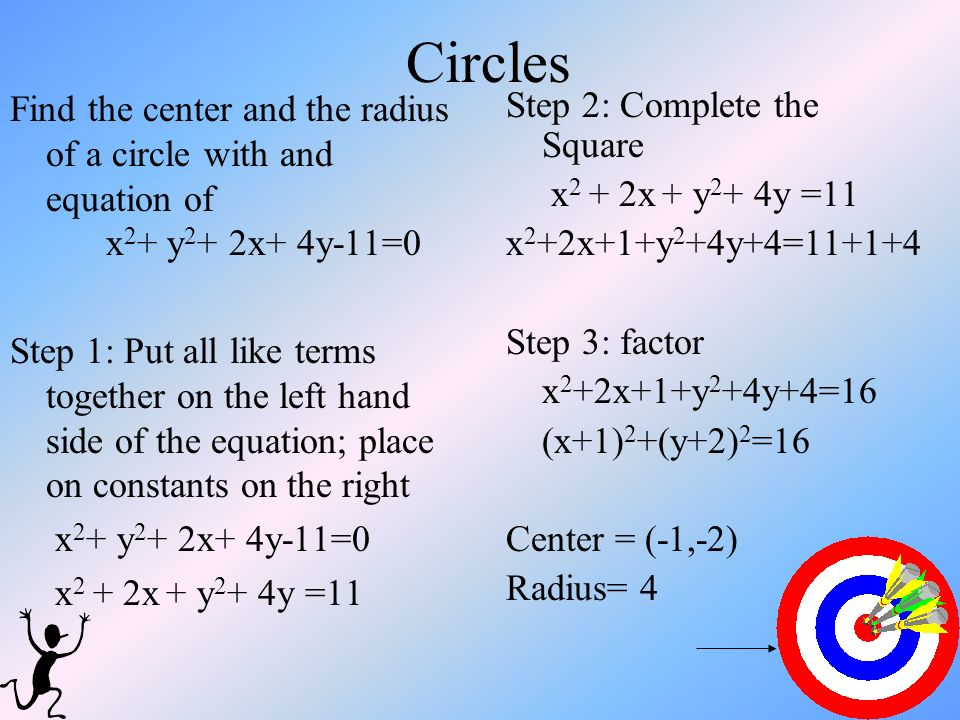 Circles Find the center and the radius of a circle with and equation of x2+ y2+ 2x+ 4y-11=0.