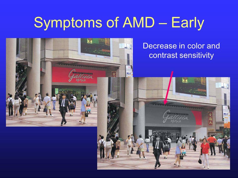 Decrease in color and contrast sensitivity