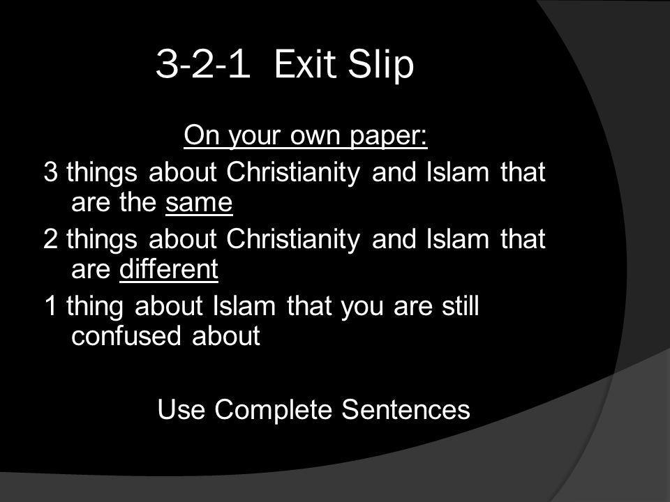 3-2-1 Exit Slip On your own paper:
