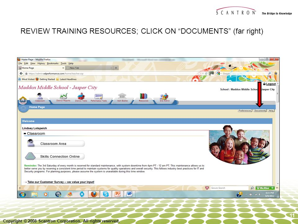 REVIEW TRAINING RESOURCES; CLICK ON DOCUMENTS (far right)
