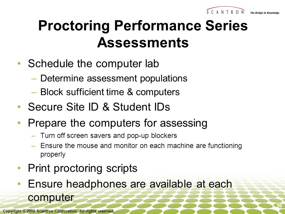 Proctoring Performance Series Assessments