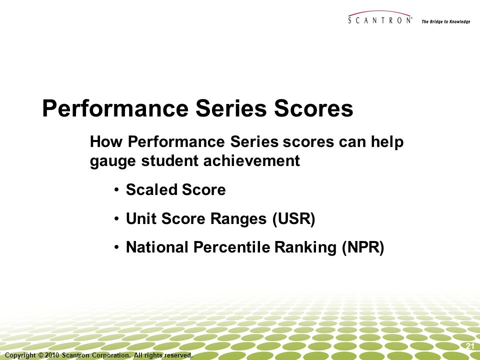 Performance Series Scores