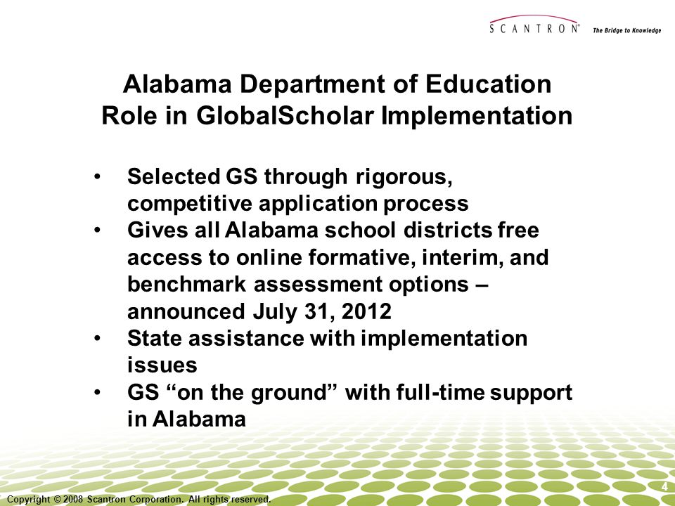 Alabama Department of Education Role in GlobalScholar Implementation