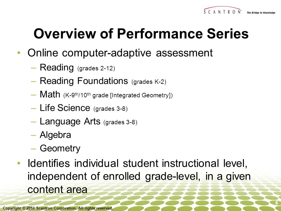 Overview of Performance Series