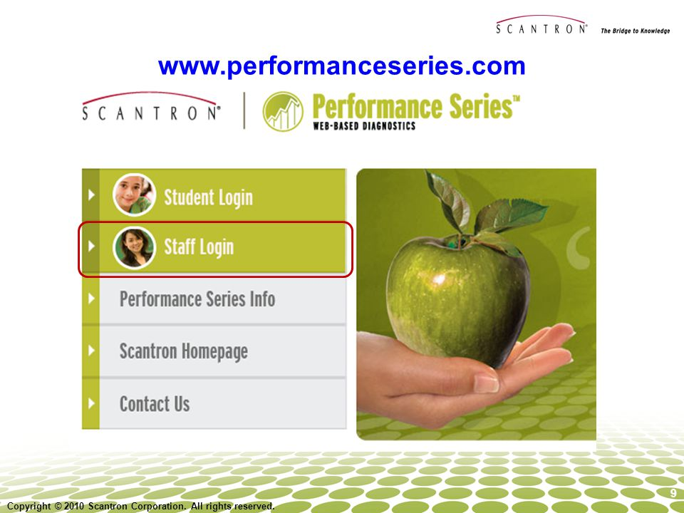 Navigate back to   or performanceseries.com. Staff member log in- use sample login to access site.