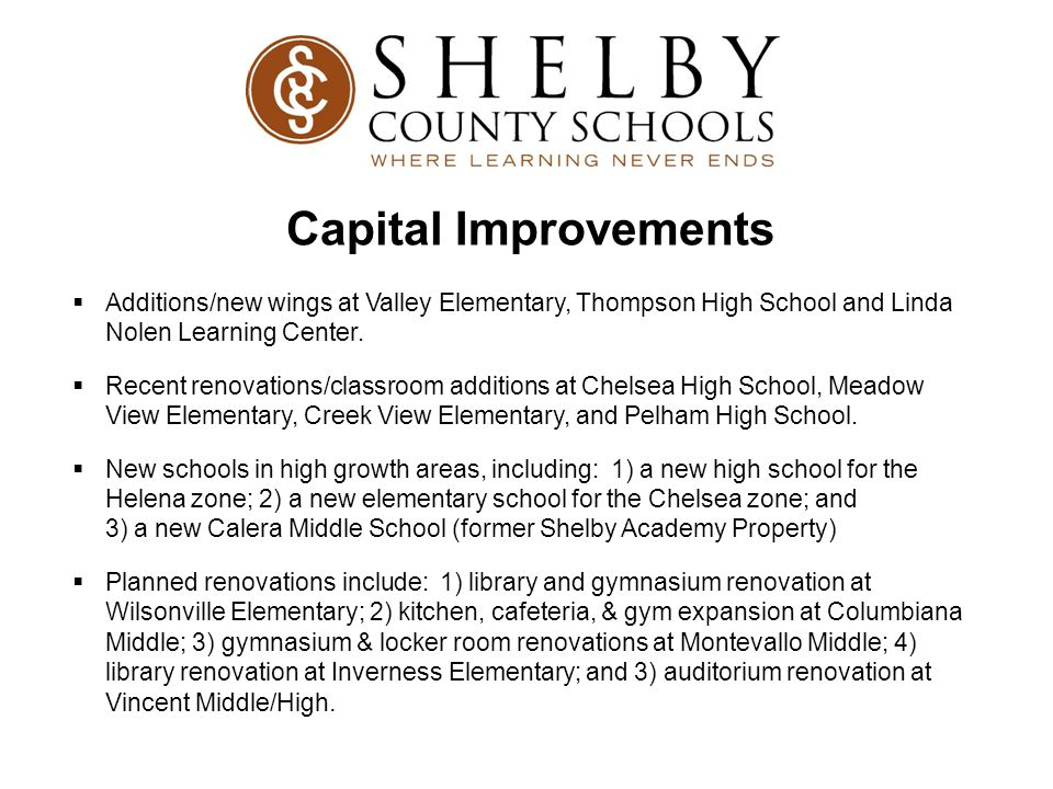 Capital Improvements Additions/new wings at Valley Elementary, Thompson High School and Linda Nolen Learning Center.