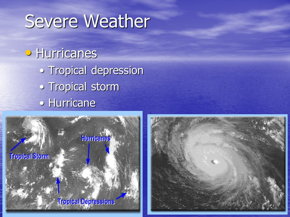 Severe Weather Hurricanes Tropical depression Tropical storm Hurricane