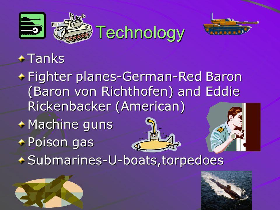 Technology Tanks. Fighter planes-German-Red Baron (Baron von Richthofen) and Eddie Rickenbacker (American)