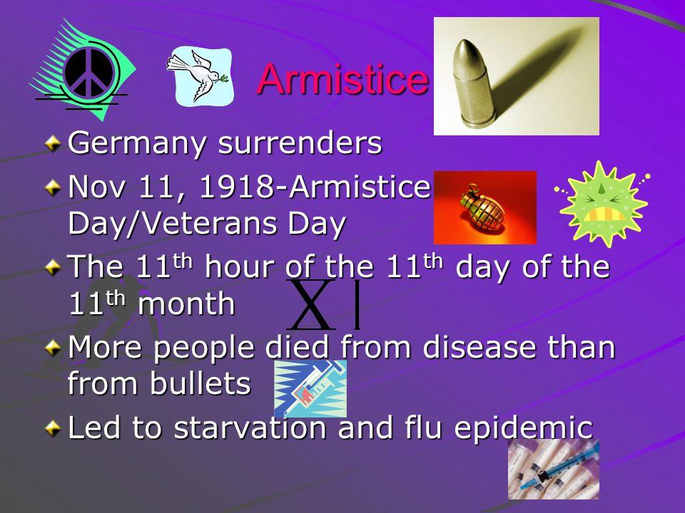 Armistice Germany surrenders Nov 11, 1918-Armistice Day/Veterans Day
