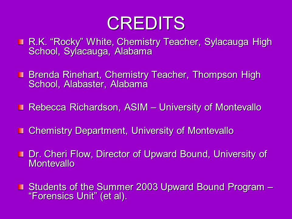 CREDITS R.K. Rocky White, Chemistry Teacher, Sylacauga High School, Sylacauga, Alabama.