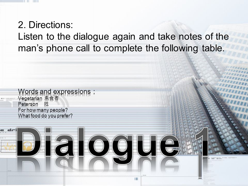 2. Directions: Listen to the dialogue again and take notes of the man's phone call to complete the following table.