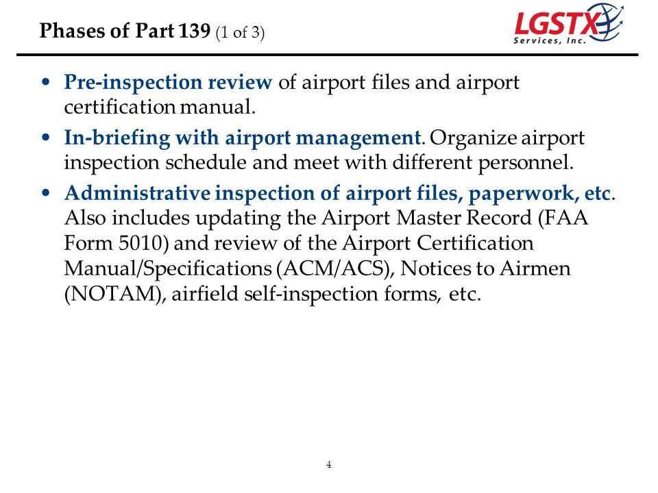 Phases of Part 139 (1 of 3)Pre-inspection review of airport files and airport certification manual.