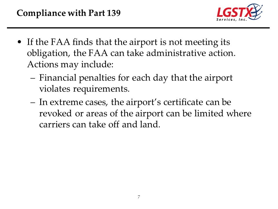 Compliance with Part 139