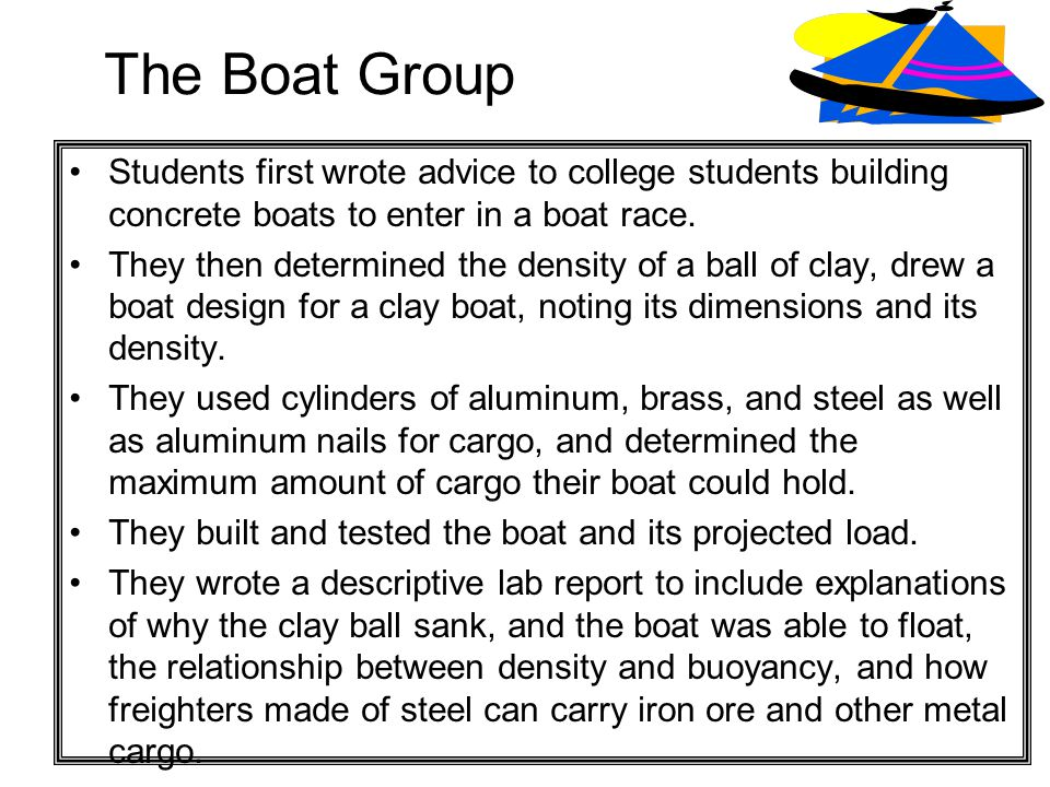 The Boat Group Students first wrote advice to college students building concrete boats to enter in a boat race.