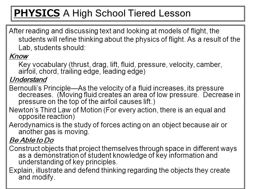PHYSICS A High School Tiered Lesson
