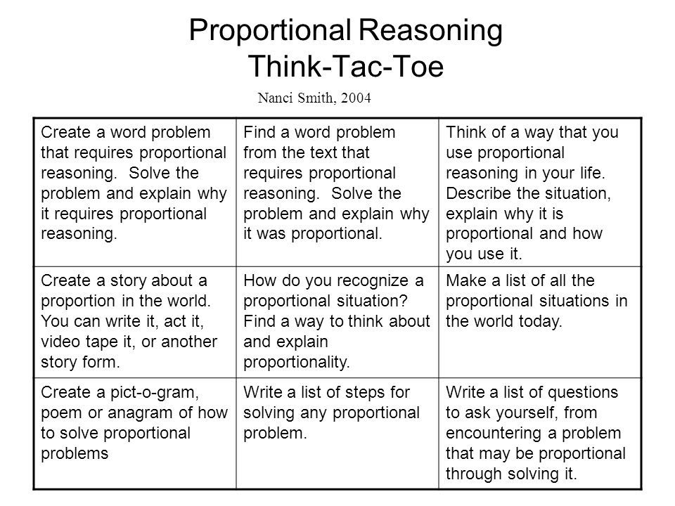 Proportional Reasoning Think-Tac-Toe