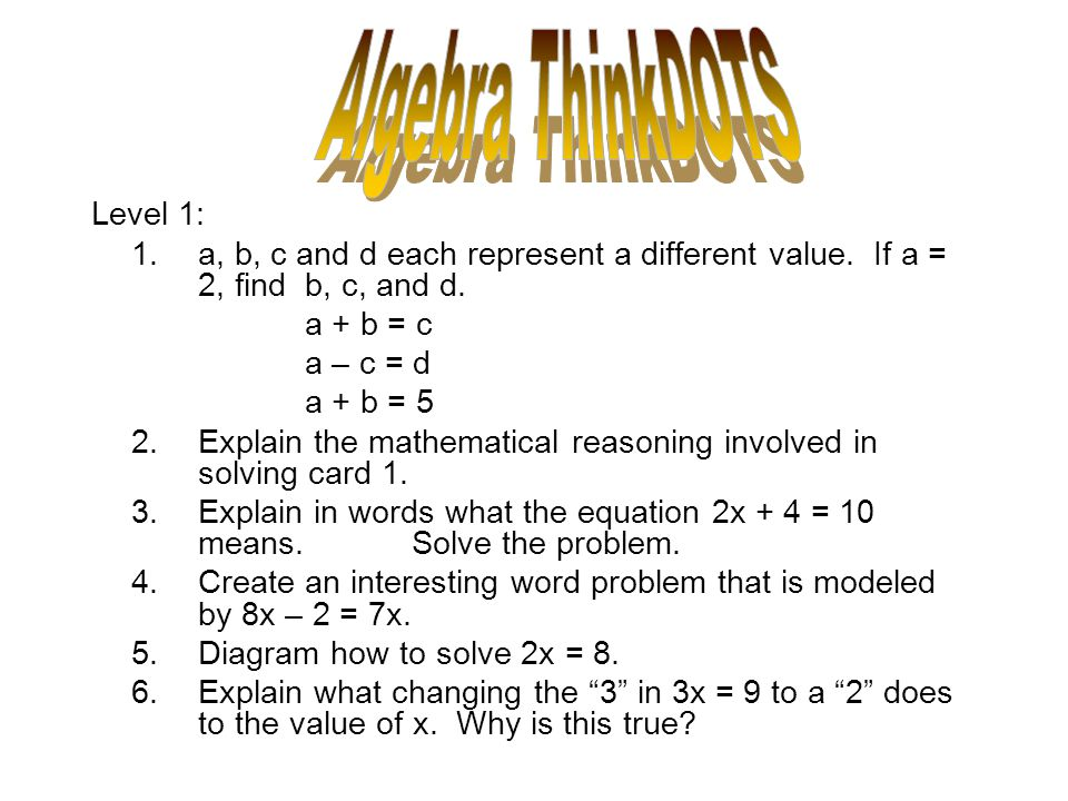 Algebra ThinkDOTS Level 1: