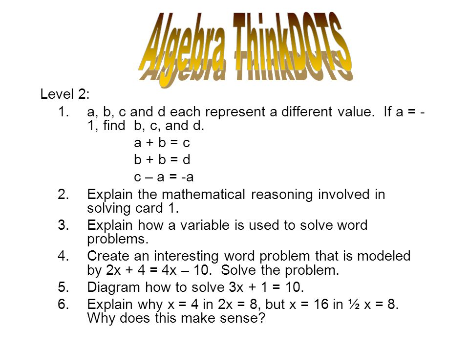 Algebra ThinkDOTS Level 2: