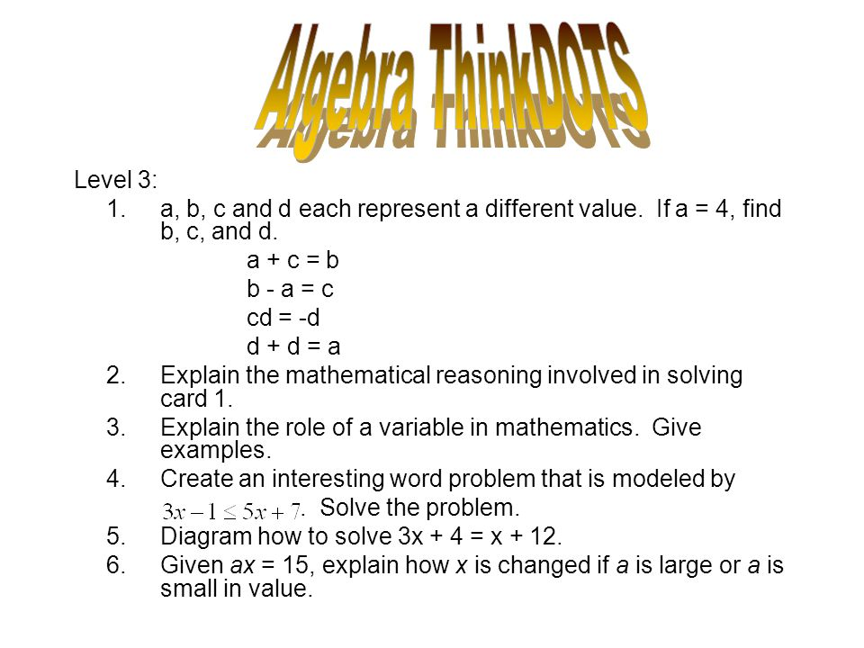 Algebra ThinkDOTS Level 3: