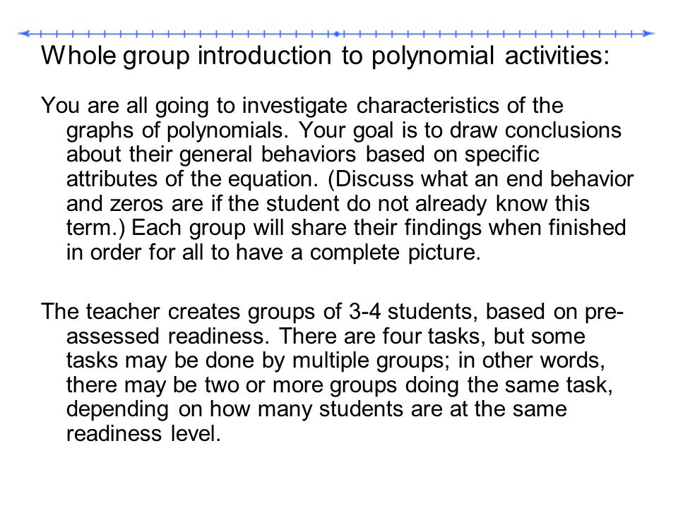 Whole group introduction to polynomial activities: