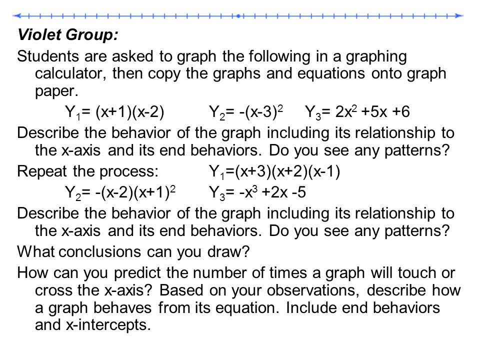 Violet Group: Students are asked to graph the following in a graphing calculator, then copy the graphs and equations onto graph paper.
