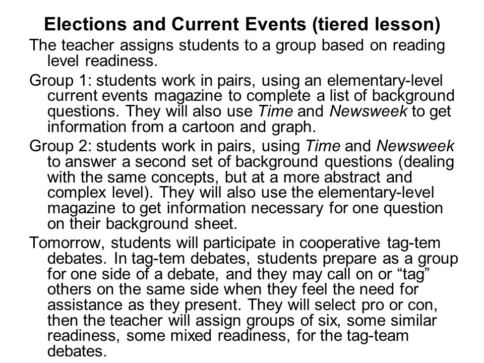 Elections and Current Events (tiered lesson)