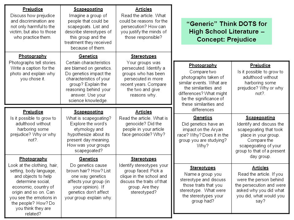 Generic Think DOTS for High School Literature – Concept: Prejudice