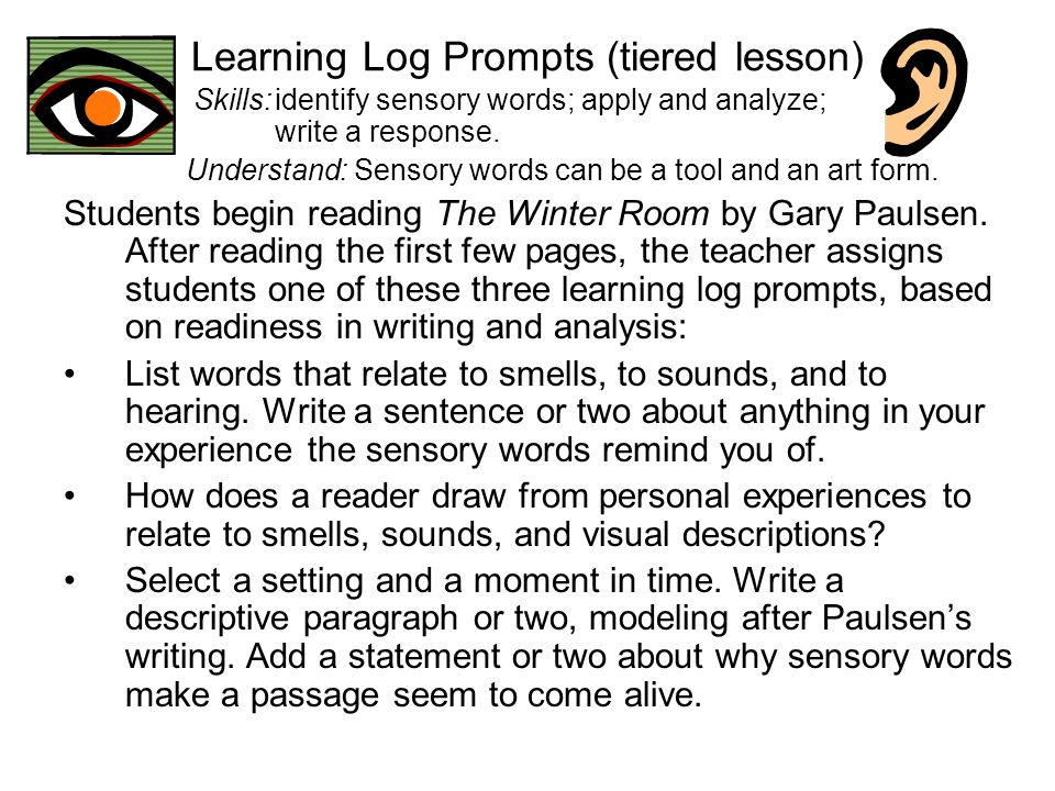 Learning Log Prompts (tiered lesson)