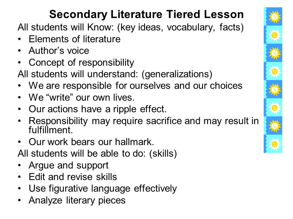 Secondary Literature Tiered Lesson