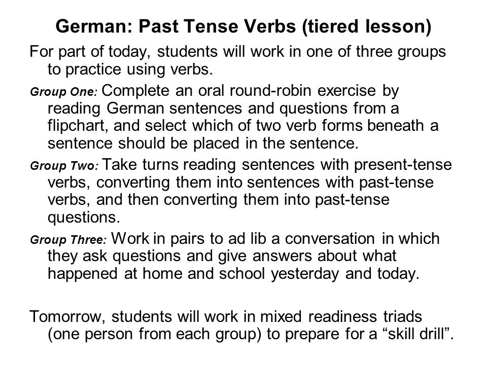 German: Past Tense Verbs (tiered lesson)