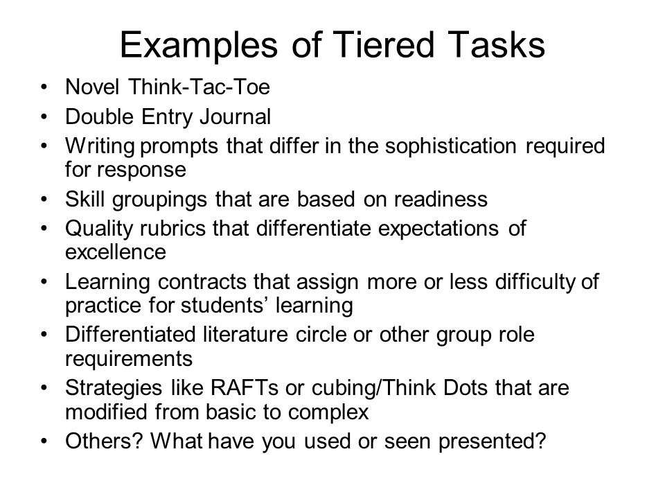 Examples of Tiered Tasks