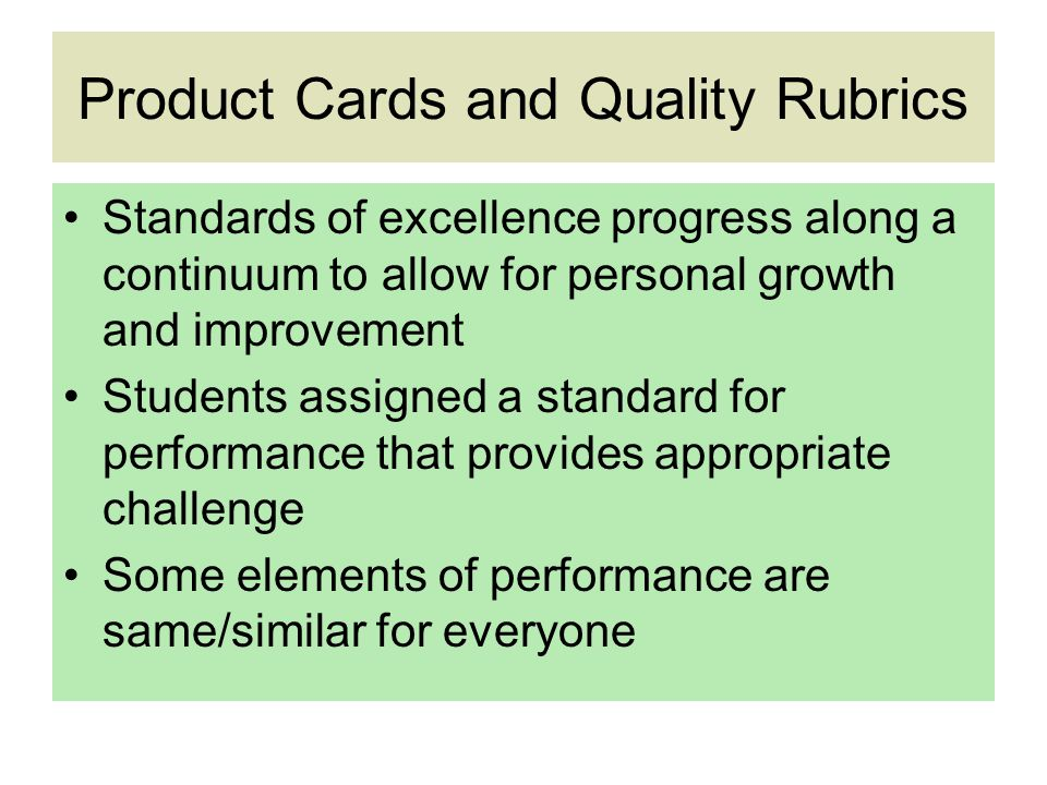 Product Cards and Quality Rubrics