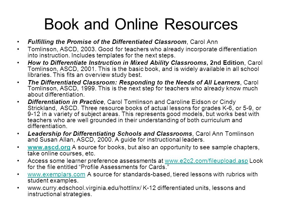 Book and Online Resources