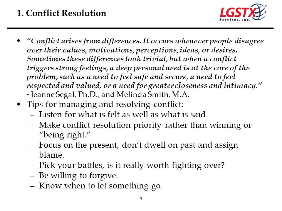 1. Conflict Resolution Tips for managing and resolving conflict: