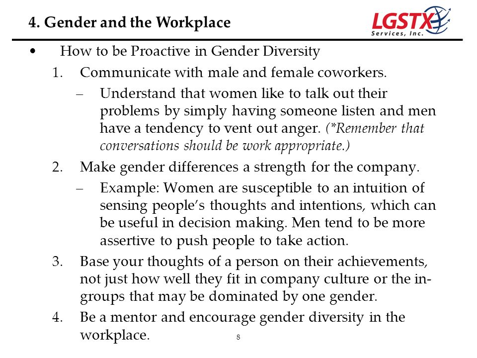 4. Gender and the Workplace