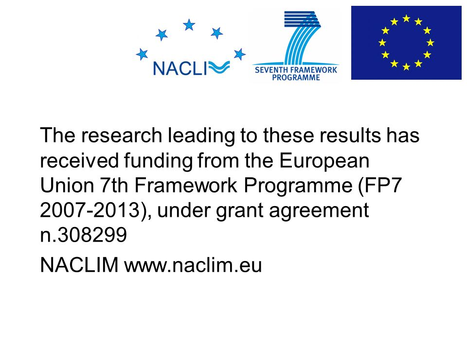 The research leading to these results has received funding from the European Union 7th Framework Programme (FP7 2007-2013), under grant agreement n.308299 NACLIM www.naclim.eu