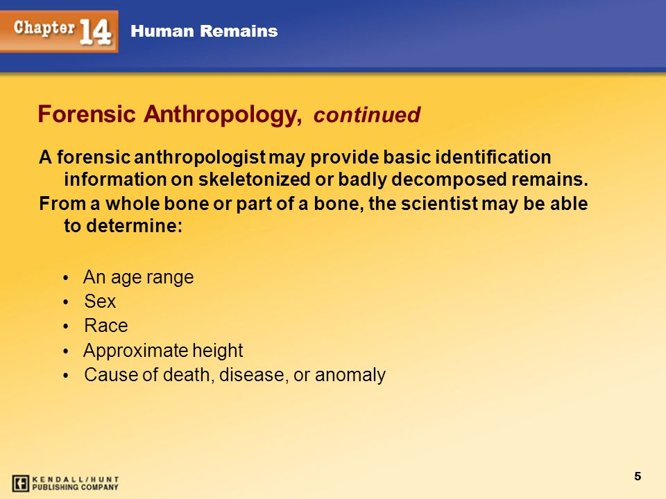 Forensic Anthropology, continued